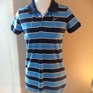 Nike Blue Striped Polo Shirt